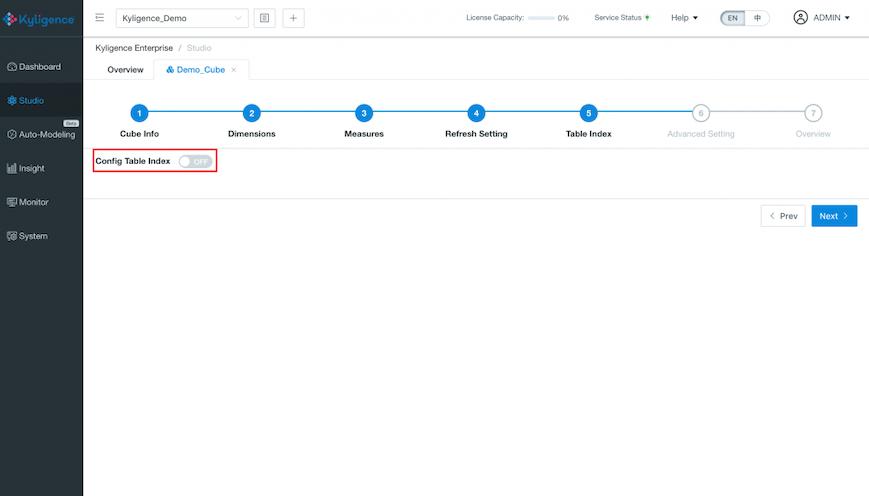 Kyligence Azure Config Table Index