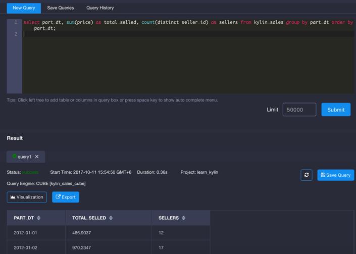 Run Query in Kyligence's Analytics Platform