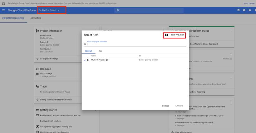 Google Cloud Platform Navigation for Kyligence